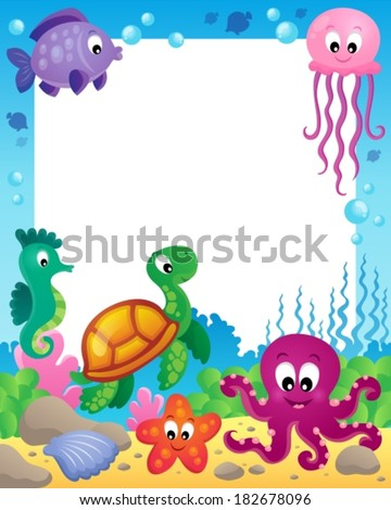 Frame with underwater animals 3 - eps10 vector illustration. - stock vector
