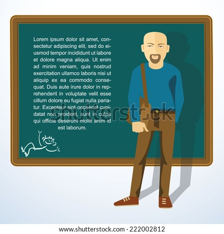 Frame with young man. Vector presntation template. - stock vector