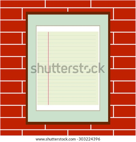 Framed lined paper, red brick wall background. Backgrounds & textures shop. - stock vector