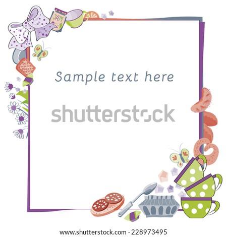 Frame Food 2 Framework Decoration Recipesannouncementsbooks Stock ...