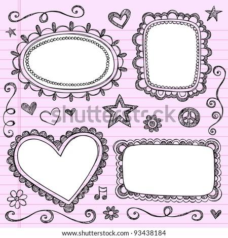 Frames and Borders Hand-Drawn Sketchy Ornamental Notebook Doodles Picture Frame Set- Vector Illustration Design Elements on Lined Sketchbook Paper Background - stock vector