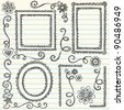 Frames and Borders Hand-Drawn Sketchy Scalloped Notebook Doodles Ornamental Set- Vector Illustration Design Elements on Lined Sketchbook Paper Background - stock vector