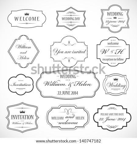 Frames And Ornaments Set - Isolated On Gray Background - Vector Illustration, Graphic Design Editable For Your Design. Logo Symbols  - stock vector