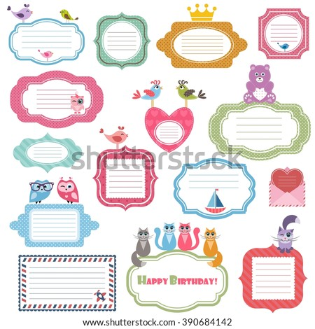Frames and stickers with animals - stock vector