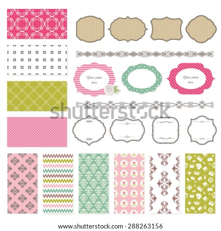 Frames ans seamless patterns for scrapbook design. - stock vector