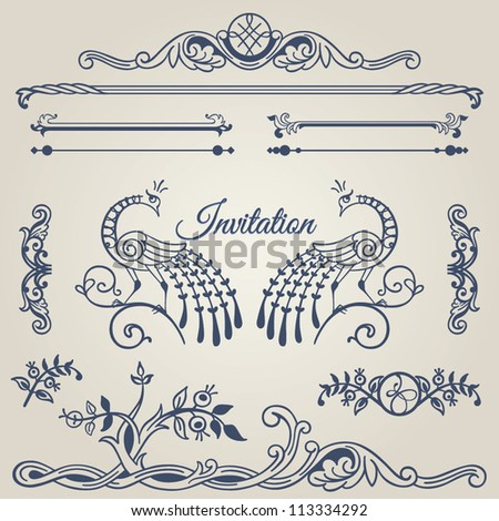 Frames, borders, dividers, corners, bars and swirls. Vector set of calligraphic text ornamental and decor design elements with peacocks for your layout. - stock vector