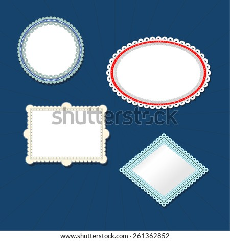 Frames cut from paper. Easy to use. - stock vector