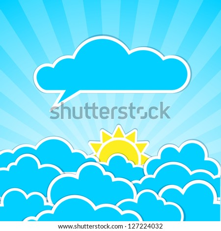 Frames in the form of clouds on background sunlight.  Vector illustration.