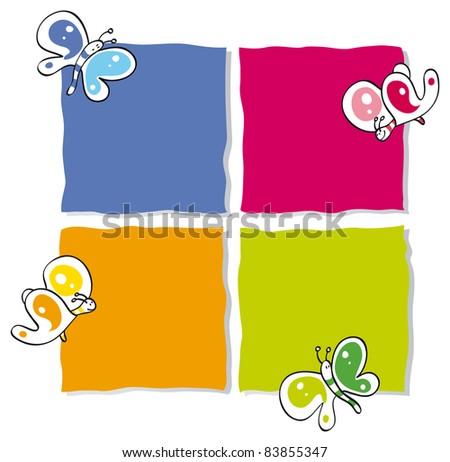 frames with colorful butterflies - stock vector
