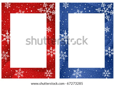 Frames with snowflakes on wavy red and blue background - stock vector