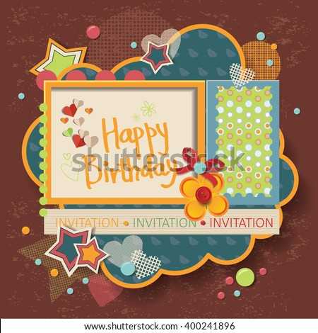 framework for invitation or congratulation for happy birthday. scrapbook elements.  Design template for you text. - stock vector