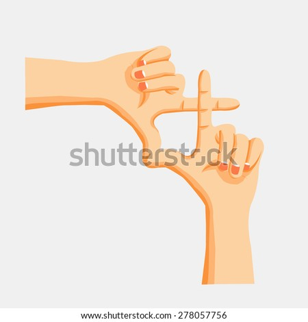 Framing capture human hands - stock vector