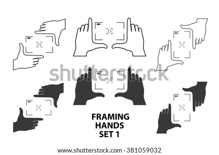 Framing hands as a template for video or photo design set1. Different combinations of frames made from fingers. Vector illustrations of perspective view. - stock vector
