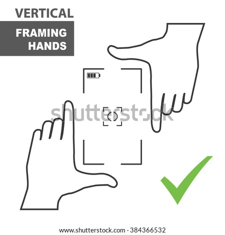 Framing hands as a vertical template for design. Hand frame made from fingers. Vector perspective view illustration. - stock vector