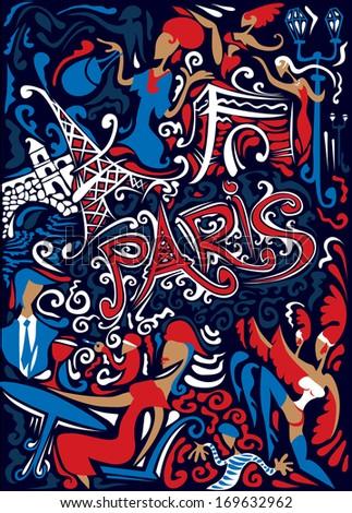 France Abstract Art , Paris (Vector) - stock vector