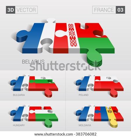 France and Belarus, Bulgaria, Poland, Hungary, Moldavia Flag. 3d vector puzzle. Set 03. - stock vector