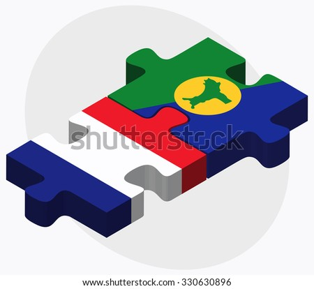 France and Christmas Island Flags in puzzle isolated on white background