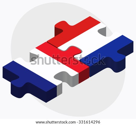 France and Paraguay Flags in puzzle isolated on white background