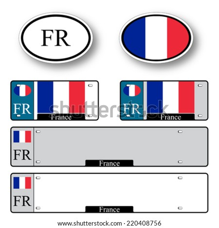 france auto set against white background, abstract vector art illustration, image contains transparency - stock vector