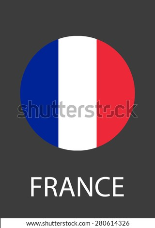 France circle flag - vector icon - stock vector