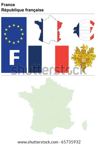 France collection including flag, plate, map (administrative division), symbol, currency unit & coat of arms - stock vector