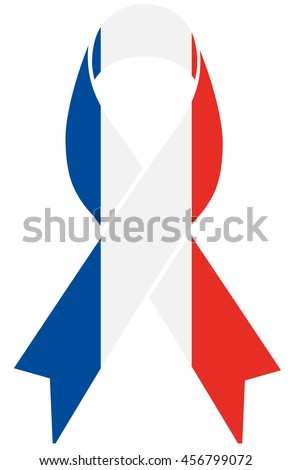 France condolence ribbon with french flag colors