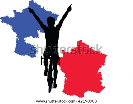 France cycling silhouett - vector - stock vector