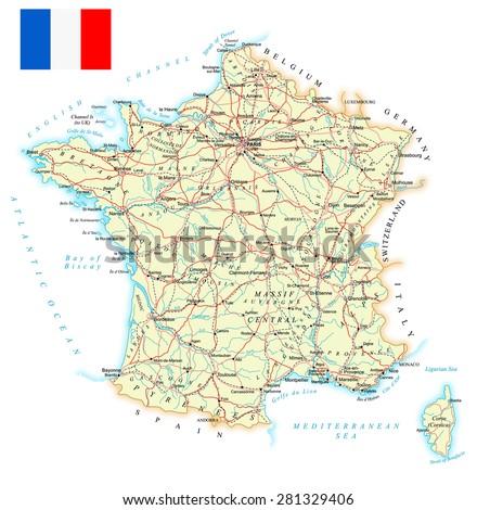 France - detailed map - illustration  - stock vector