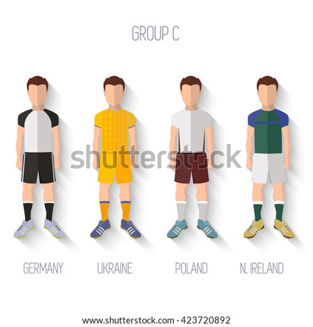 France EURO 2016 Championship Infographic Qualified Soccer Players GROUP C. Football Game Flat People Icon.Soccer / Football team players. Group C - Germany, Ukraine, Poland, Northen Ireland. Vector. - stock vector