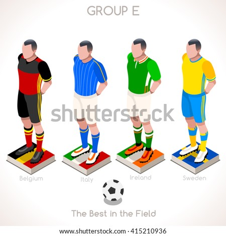 France EURO 2016.Soccer Group E Player Athletes.Vector France 2016 Match. EURO Championship Football Game.Soccer International Match Illustration. Soccer European Cup 2016 Group E Player Isometric - stock vector