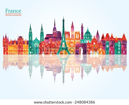 France famous landmarks detailed skyline. Vector illustration - stock vector