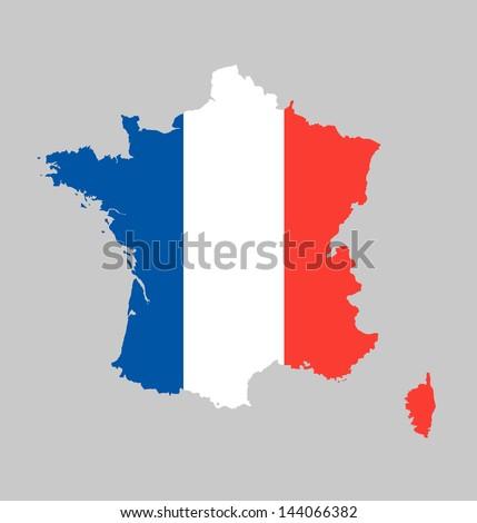 France flag map - stock vector