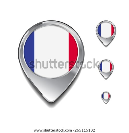France flag map pointer. 3d Map Pointer with flag glossy button style on gray background - stock vector