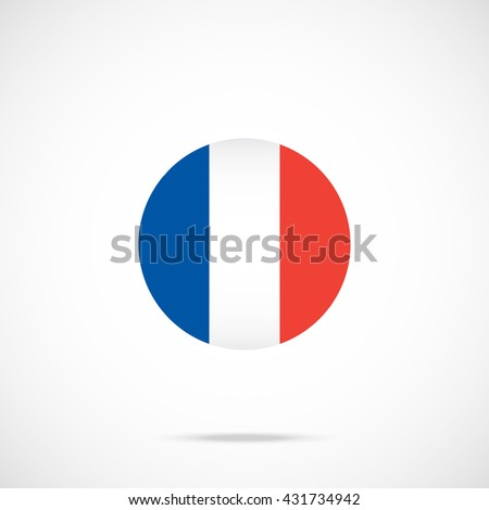 France flag round icon. France flag icon with accurate official color scheme. Vector icon isolated on gradient background - stock vector