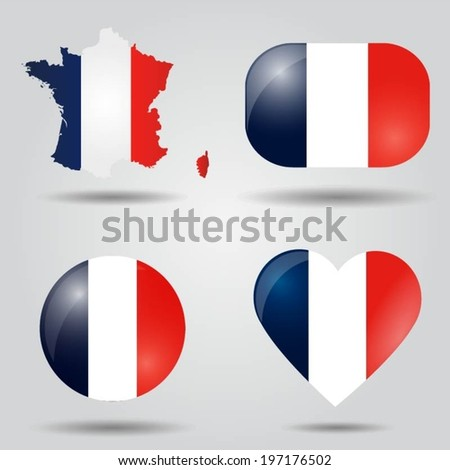 France flag set in map, oval, circular and heart shape. - stock vector