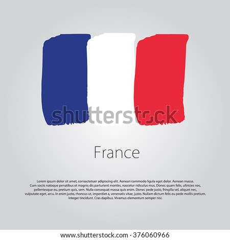 France Flag with colored hand drawn lines in Vector Format - stock vector