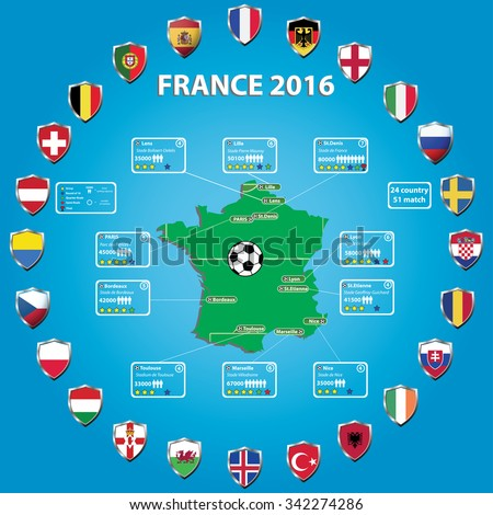 France 2016 football stadium map and infographics, icons flags of the participating countries, vector illustration - stock vector