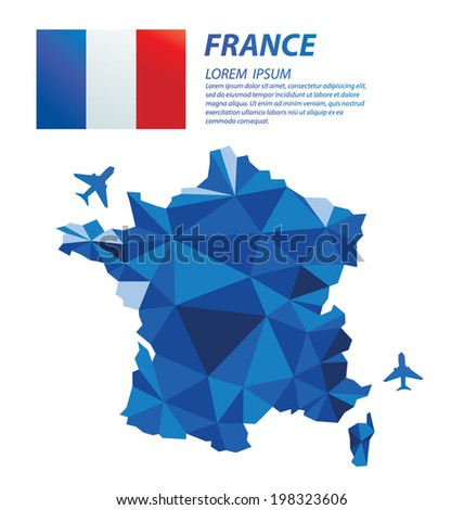 France geometric concept design - stock vector