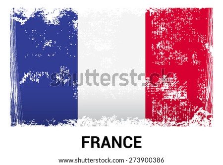 France grunge flag isolated vector in official colors and Proportion Correctly. country's name label in bottom - stock vector