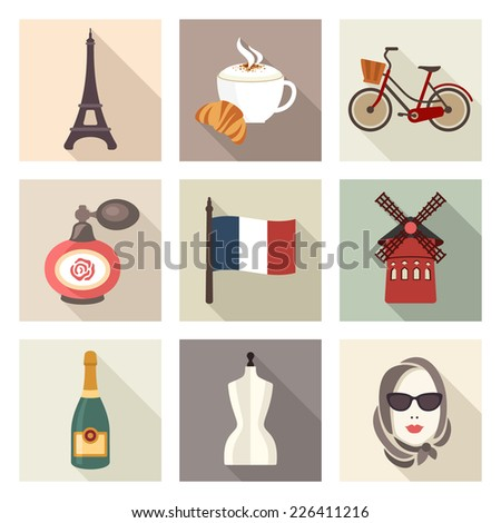 France icon set - stock vector