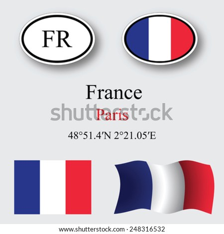 France icons set against gray background, abstract vector art illustration, image contains transparency - stock vector