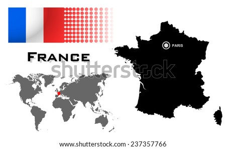 France info graphic with flag , location in world map, Map and the capital ,Canberra, location.(EPS10 Separate part by part) - stock vector