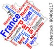 France map and words cloud with larger cities. vector - stock photo