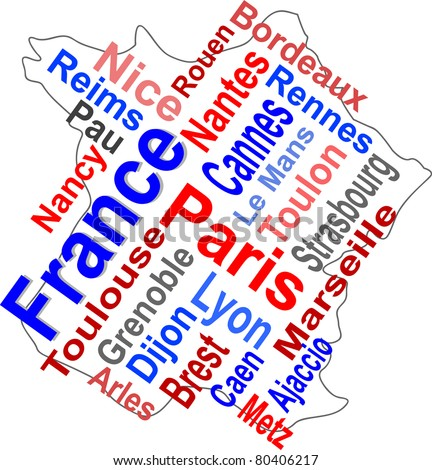 France map and words cloud with larger cities. vector - stock vector