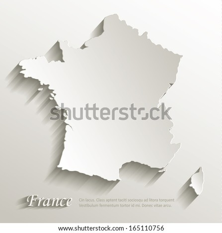 France map card paper 3D natural vector - stock vector