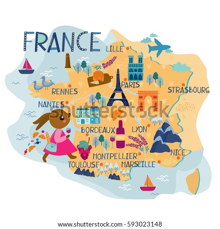 France Map Kids Stock Photo Photo Vector Illustration 593023148