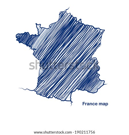 France map hand drawn background vector,illustration - stock vector