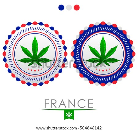 France marijuana emblem - vector cannabis seal of approval with the colors of the flag of  France