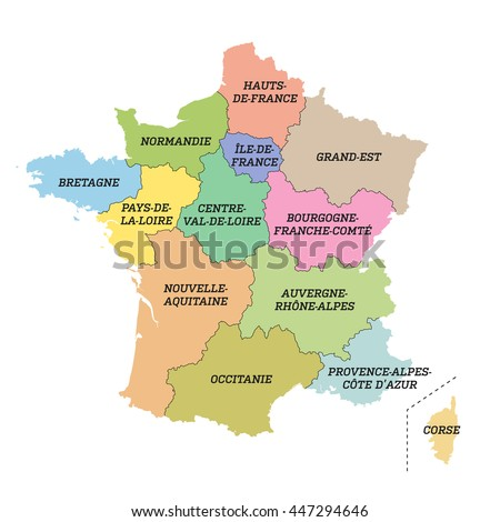 France metropolitan map with new regions - stock vector