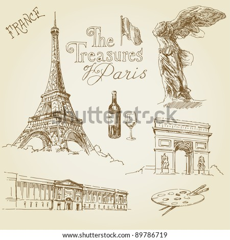france, paris collection - stock vector